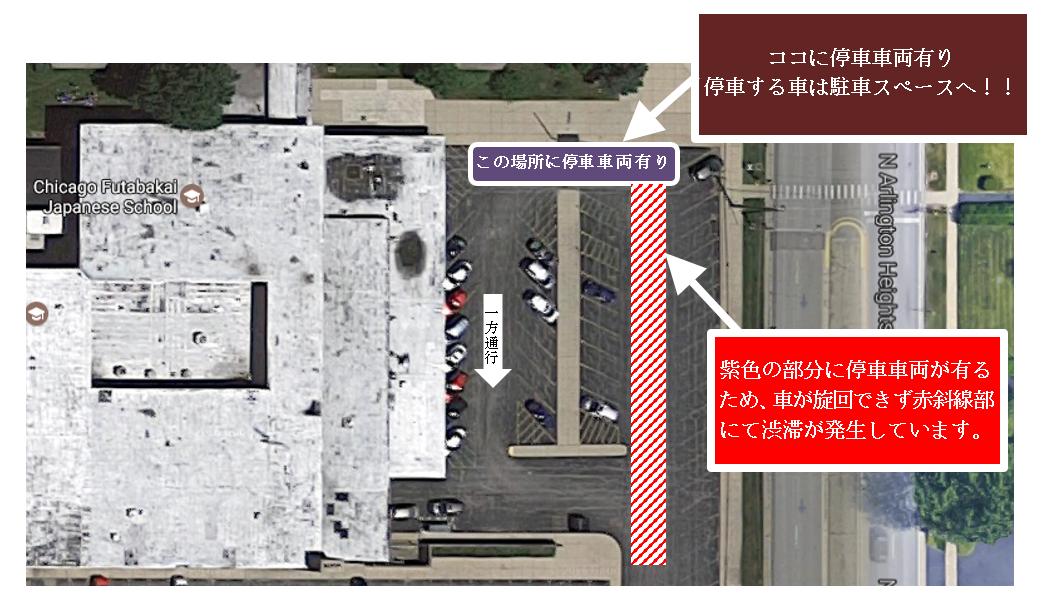 補習校東側駐車場渋滞状況について